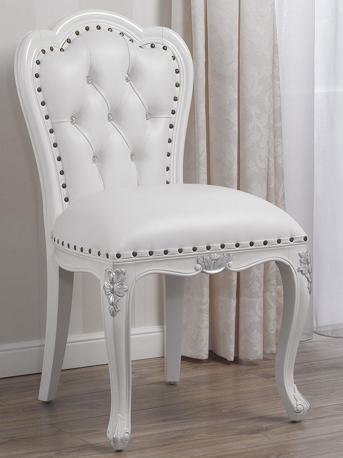 Stuhl Josephine Moderner Barock Stil Weiß Lackiert Und