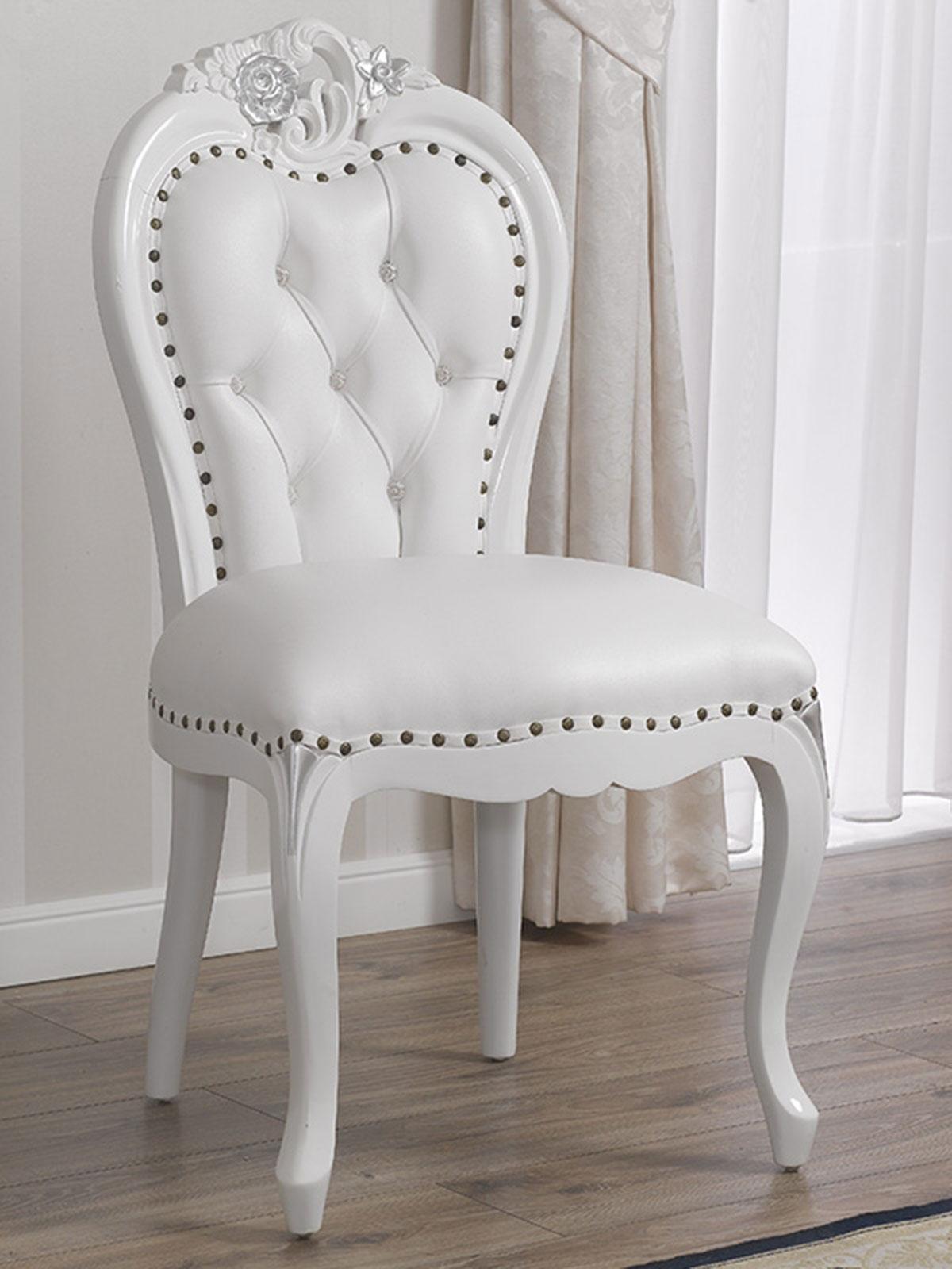 Stuhl Amalia Moderner Barock Stil Weiß Lackiert Und